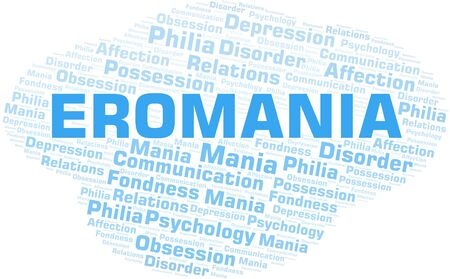 Eromania word cloud. Type of mania, made with text only.