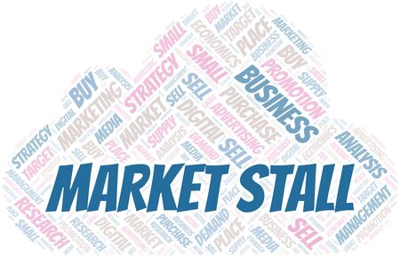 Market Stall word cloud. Vector made with text only Illustration
