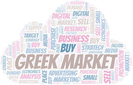 Greek Market word cloud. Vector made with text only