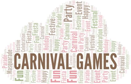 Carnival Games word cloud vector made with text only Illustration