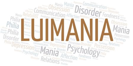 Luimania word cloud. Type of mania, made with text only.