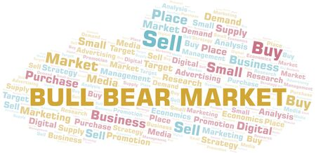 Bull Bear Market word cloud. Vector made with text only Ilustração