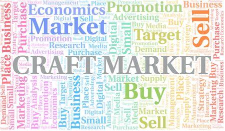 Craft Market word cloud. Vector made with text only Illustration
