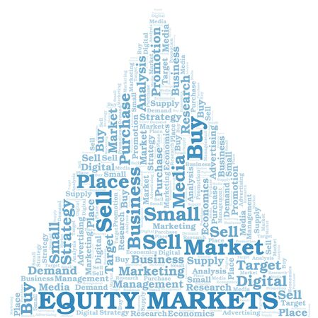 Equity Markets word cloud. Vector made with text only
