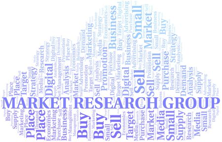 Market Research Group word cloud. Vector made with text only