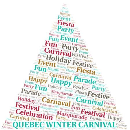Quebec Winter Carnival word cloud vector made with text only