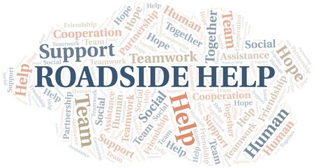 Roadside Help word cloud. Vector made with text only. Illustration