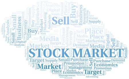 Stock Market word cloud. Vector made with text only Ilustração