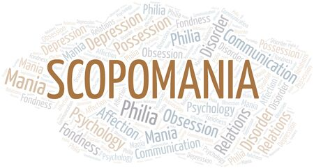 Scopomania word cloud. Type of mania, made with text only. Illusztráció