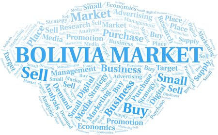 Bolivia Market word cloud. Vector made with text only