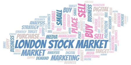 London Stock Market word cloud. Vector made with text only