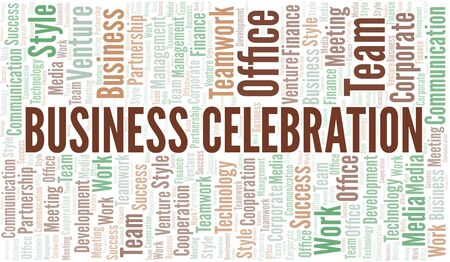 Business Celebration word cloud. Collage made with text only.