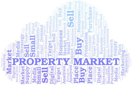 Property Market word cloud. Vector made with text only