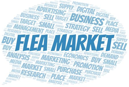 Flea Market word cloud. Vector made with text only