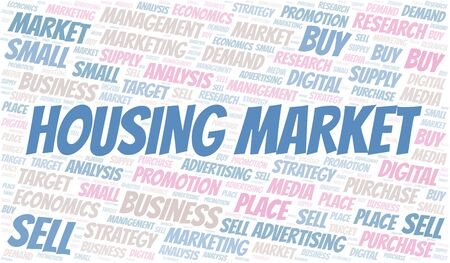 Housing Market word cloud. Vector made with text only