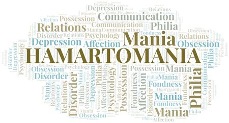 Hamartomania word cloud. Type of mania, made with text only.