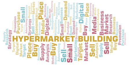 Hypermarket Building word cloud. Vector made with text only Illustration