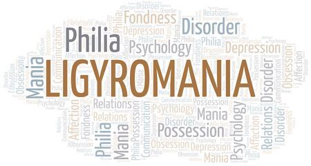 Ligyromania word cloud. Type of mania, made with text only. Illusztráció