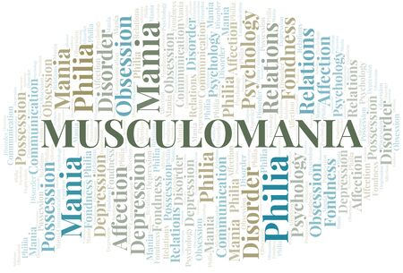 Musculomania word cloud. Type of mania, made with text only.