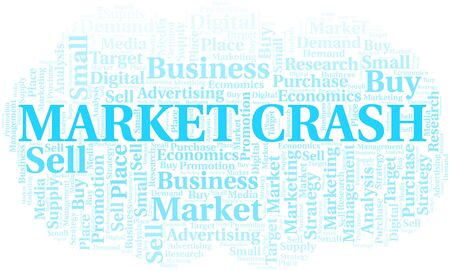 Market Crash word cloud. Vector made with text only