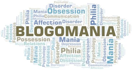 Blogomania word cloud. Type of mania, made with text only. Illusztráció