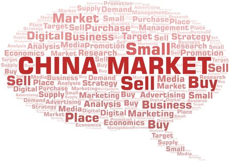 China Market word cloud. Vector made with text only