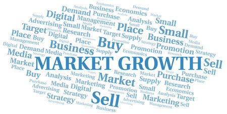 Market Growth word cloud. Vector made with text only