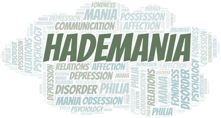 Hademania word cloud. Type of mania, made with text only.