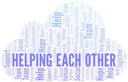 Helping Each Other word cloud. Vector made with text only. Vecteurs