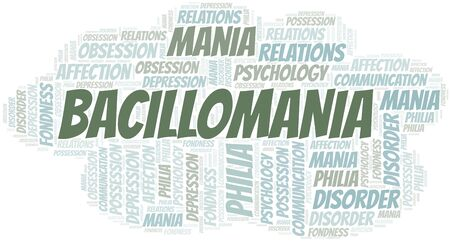 Bacillomania word cloud. Type of mania, made with text only.