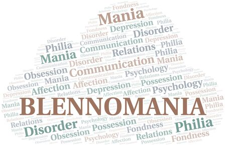 Blennomania word cloud. Type of mania, made with text only. Illusztráció