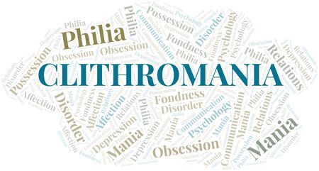 Clithromania word cloud. Type of mania, made with text only.