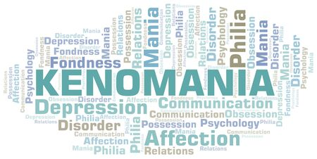 Kenomania word cloud. Type of mania, made with text only. Illusztráció