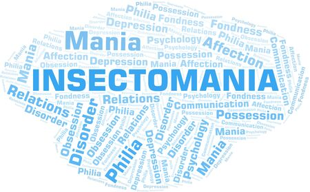 Insectomania word cloud. Type of mania, made with text only.