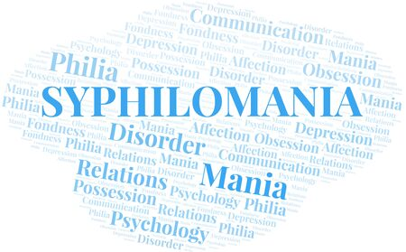 Syphilomania word cloud. Type of mania, made with text only.