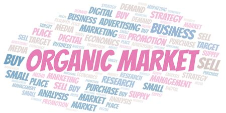 Organic Market word cloud. Vector made with text only Illustration