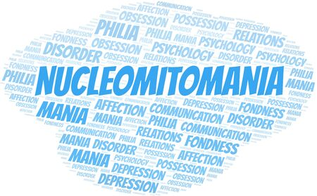Nucleomitomania word cloud. Type of mania, made with text only.