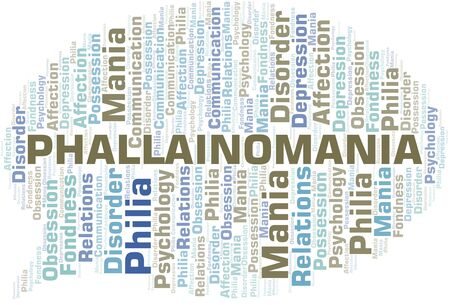 Phallainomania word cloud. Type of mania, made with text only.