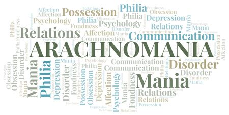 Arachnomania word cloud. Type of mania, made with text only.