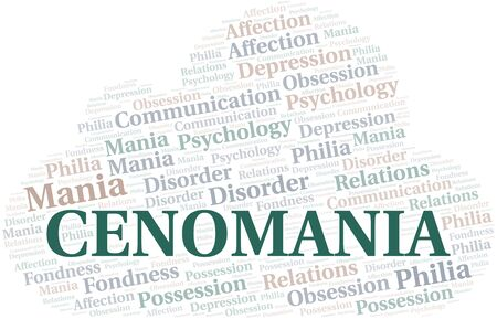 Cenomania word cloud. Type of mania, made with text only. Illusztráció