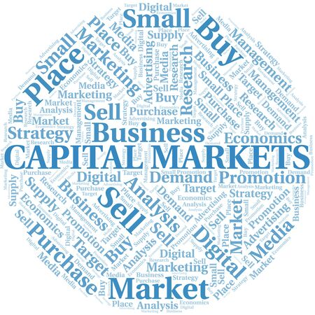 Capital Markets word cloud. Vector made with text only Ilustração
