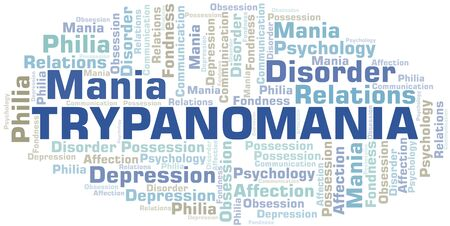 Trypanomania word cloud. Type of mania, made with text only.
