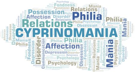 Cyprinomania word cloud. Type of mania, made with text only. Illusztráció