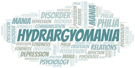 Hydrargyomania word cloud. Type of mania, made with text only.