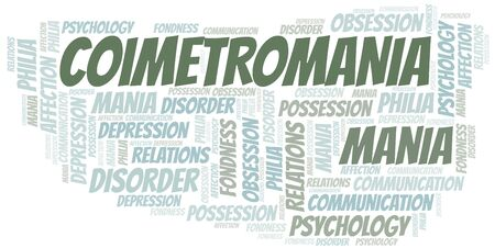 Coimetromania word cloud. Type of mania, made with text only.