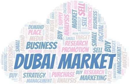 Dubai Market word cloud. Vector made with text only