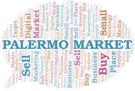 Palermo Market word cloud. Vector made with text only