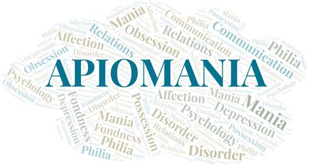 Apiomania word cloud. Type of mania, made with text only.