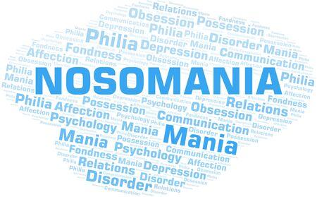 Nosomania word cloud. Type of mania, made with text only. Illusztráció
