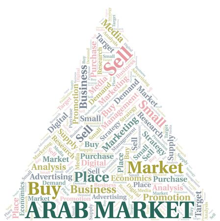 Arab Market word cloud. Vector made with text only Ilustrace
